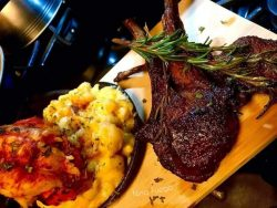Lobster mac and cheese , lamb chops well done