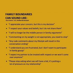 Setting boundaries with family.