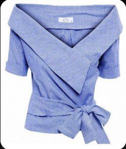 Pinstripe powder blue crosstied top
