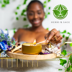 Herbs & Sage : Gold lux 8oz tin. Black owned candle company