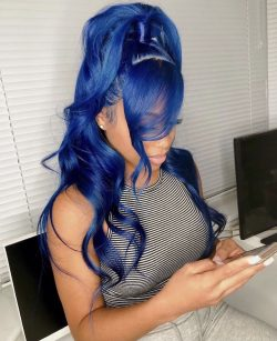 Half Up Half Down Blue Frontal Lace Wig