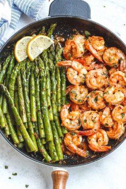 Shrimp and asparagus. WOW
