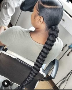 Braided sleek ponytail