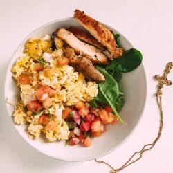 chicken, spinach, eggs 🥚