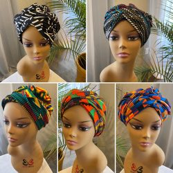 African Print satin Lined Headwrap Bonnet