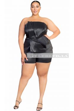 Plus Size Satin Pleated Overlay Romper