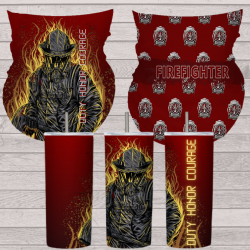 Fire fighter sets gaiter mask and 16oz tumbler