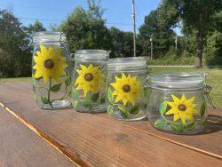 Sunflower Paintings on Glass Jars