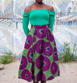 Green and purple African print skirt