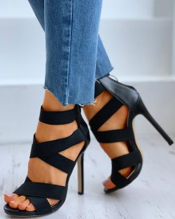 Crisscross Bandage Zipper Back Stiletto Heel