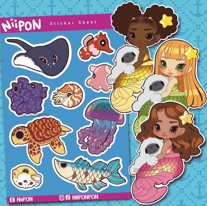 Mermaid and Friends Sticker Set