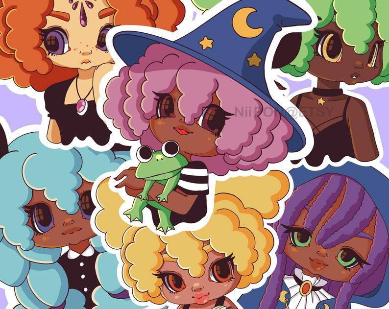 Witchy Black Girls 3″ Vinyl Stickers
