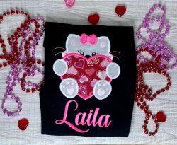 Valentines girl Kitty Shirt https://www.etsy.com/listing/937503749/girls-valentine-embroidery-ki ...