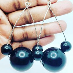 Large Black Beaded Earrings
