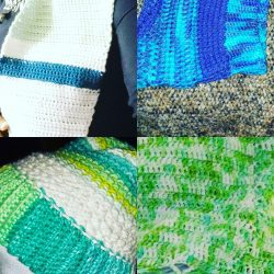 Things I made in 2020, samples of beanies, cowls, scarves and sweaters that were made…