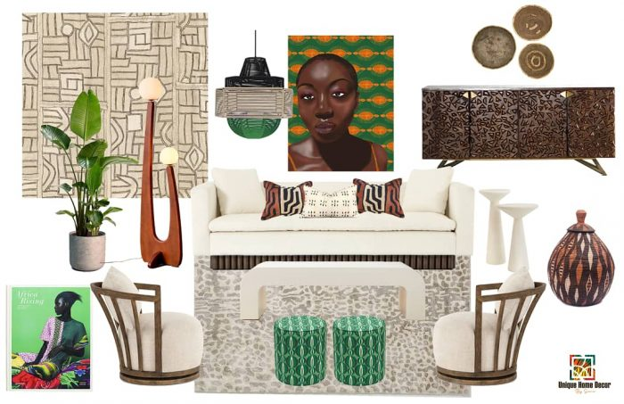 Contemporary Afro Boho concept board by UHD by Sierra