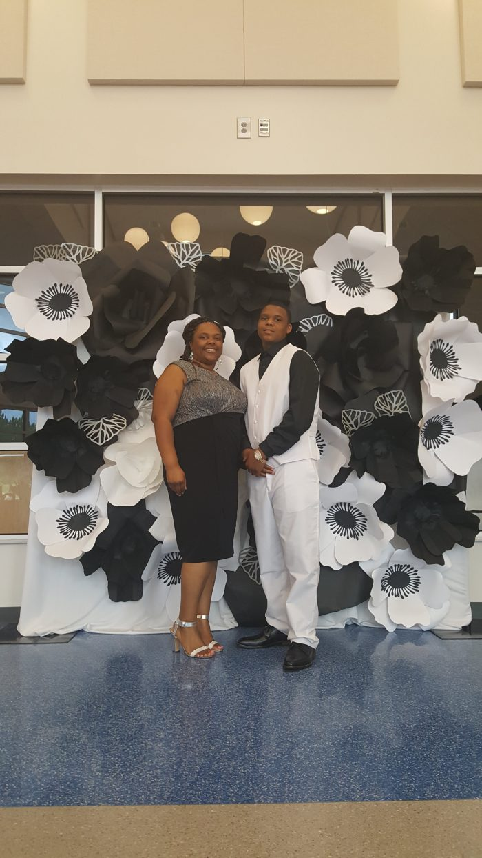 Black and white paper flower wall