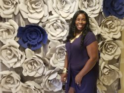 Blue and gray flower wall