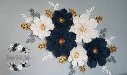 Holiday Paper Flower Wall. Navy, white, gray, and gold