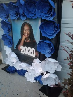 Graduation flower wall, drive by celebration 2020