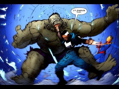 Blue Marvel clowning the Hulk