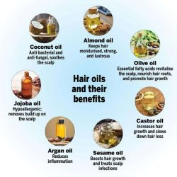 Different oils and their benefits for hair.
