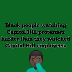 Black People watching the capitol hill protest like…
