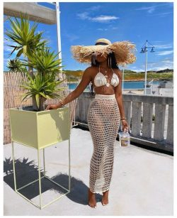 Summer Beach Babe Crochet 2 Piece Cover Up Set