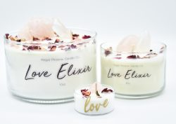 """Love Elixir"" Crystal & Reiki Infused Soy Candle"