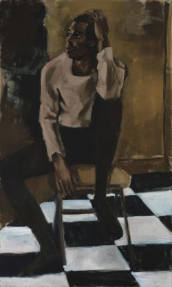 Lynette Yiadom-Boakye, Medicine at Playtime, 2017, oil on linen, 78 3/4 × 47 1/4 in. (200.03 × 1 ...