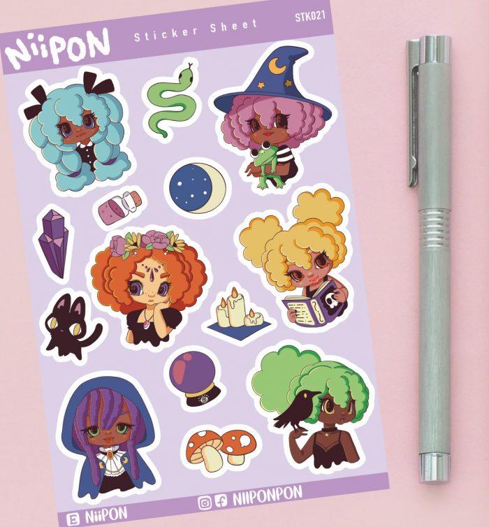 Witchy Black Girl Sticker Sheet