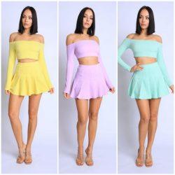 Cute Spring Crop Top & Skirt Set