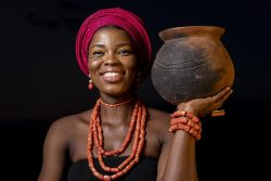 Portrait of african woman wearing traditional accessories