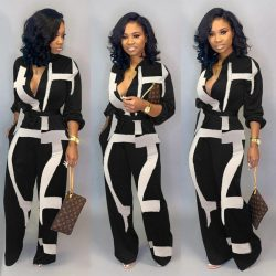 New Fashion Jumpsuit For Women Black White Rompers Button Up Self Belted Pockets Womens Jumpsuit ...