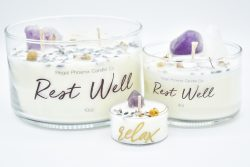 """Rest Well"" Crystal & Reiki Infused Soy Candles"