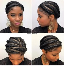 Protective flat twist on natural hair