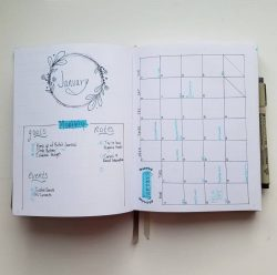 January Monthly Spread ~ Bullet Journal 2020
