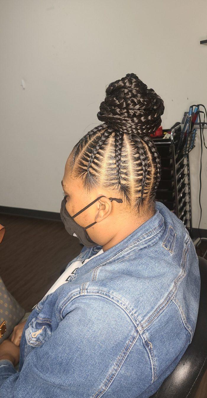 Stitch braids bun