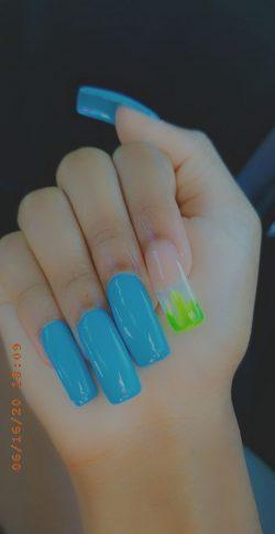 Slime 💚 × Blue Nails 💙