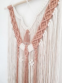 Macrame Wall Hanging in cream and dusty rose by Sweet Home Alberti