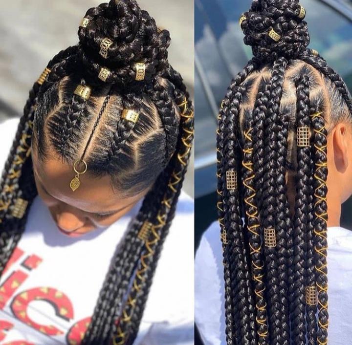 Half up- Half down braids
