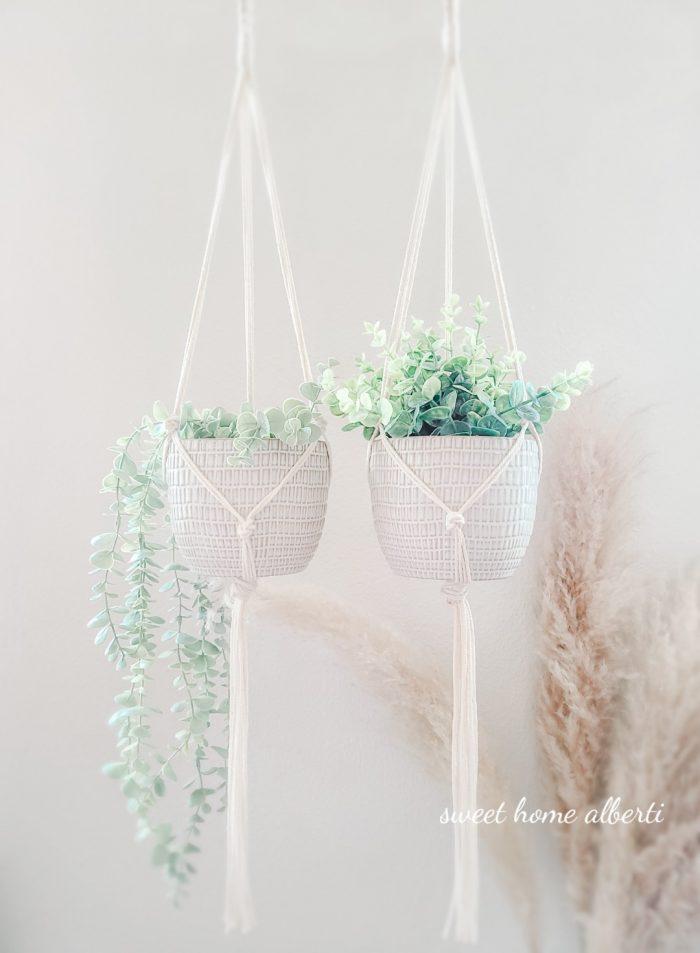 Set of macrame plant hangers