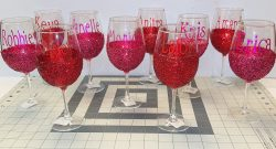 Happy Galentine's Day! Glitter Glassware.