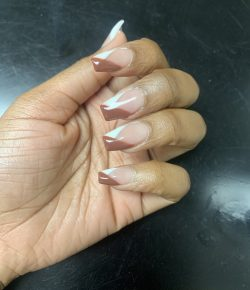 Brown/White minimal acrylic cross over nail design.