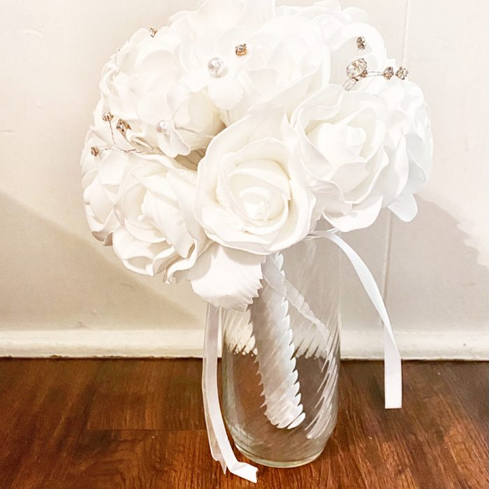 White Roses and Ornaments Bridal Bouquet