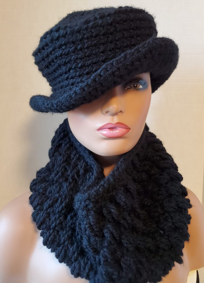 KnottyLoop Crochet Hat and Bubble Scarf