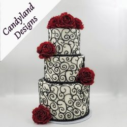 Black White & Red Wedding Cake