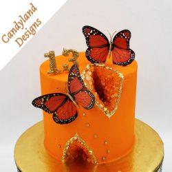 Orange Geode Monarch Butterfly Cake