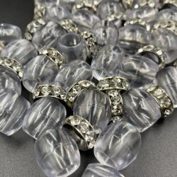Clear Barrel Hair Beads With a Glamorous touch