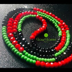 Red, black and green waistbeads